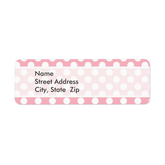 Bubble Gum Pink Polka Dots Return Address Label
