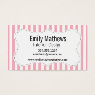 Bubble Gum Pink Stripes; Striped Business Card