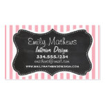 Bubble Gum Pink Stripes; Vintage Chalkboard look Pack Of Standard Business Cards