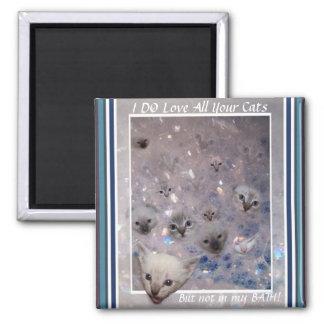 Bubble Kittens Square Magnet
