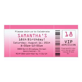 """Bubble Pink Ticket Invitations 4"""" X 9.25"""" Invitation Card"""