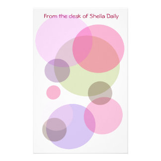 Bubble Pinks Personalized Stationary Stationery Design