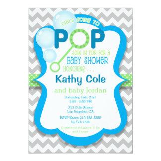Bubble Pop Boy Baby Shower Blue & Green Invitation