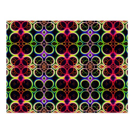 Bubble Rings Rainbow Holographic Effect Art Post Cards