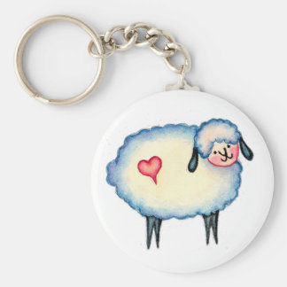 BUBBLE SHEEP by SHARON SHARPE Basic Round Button Key Ring