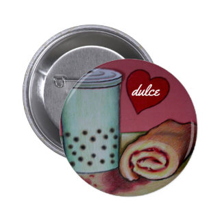 "bubble tea and jellyroll ""dulce"" waiter bling 6 cm round badge"