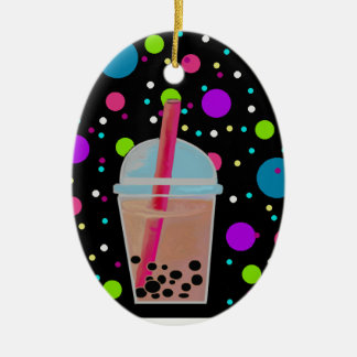 Bubble Tea - Bubble Background Christmas Ornament