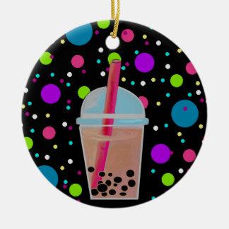 Bubble Tea - Bubble Background Round Ceramic Decoration