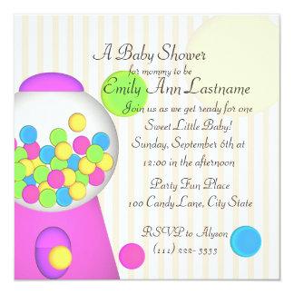 Bubblegum Baby Shower 5.25x5.25 Square Paper Invitation Card