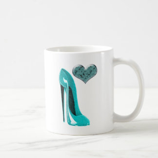 Bubblegum Blue Stiletto Shoe and 3D Heart Art Coffee Mug