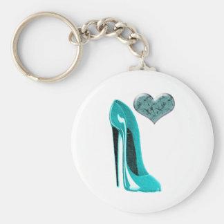 Bubblegum Blue Stiletto Shoe and 3D Heart Art Key Ring