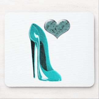 Bubblegum Blue Stiletto Shoe and 3D Heart Mouse Mat