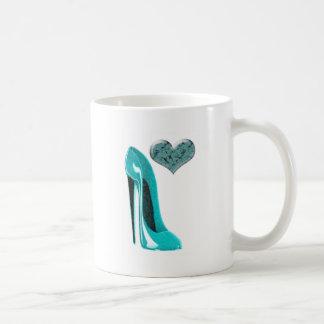 Bubblegum Blue Stiletto Shoe and 3D Heart Mugs