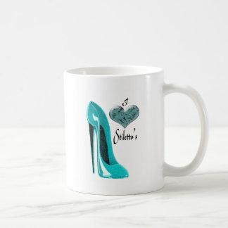 Bubblegum Blue Stiletto Shoe and 3D Heart Coffee Mug