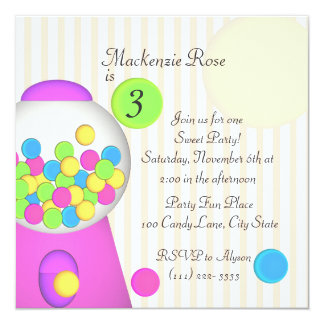 Bubblegum Candy Birthday 13 Cm X 13 Cm Square Invitation Card