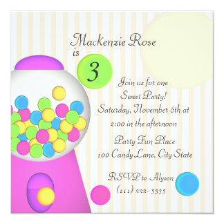 Bubblegum Candy Birthday 5.25x5.25 Square Paper Invitation Card
