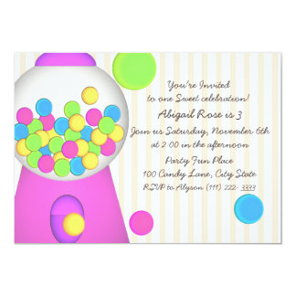 Bubblegum Candy Birthday 5x7 Paper Invitation Card