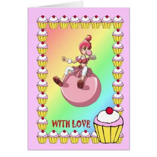 Bubblegum girl and the gingerbread men card