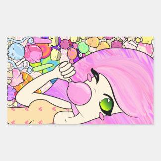 Bubblegum girl in candy land rectangular sticker