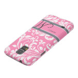 Bubblegum Pink and white floral damask w/ monogram Galaxy S5 Cases