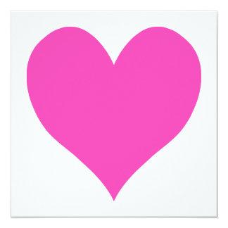 Bubblegum Pink Cute Heart Shape 13 Cm X 13 Cm Square Invitation Card