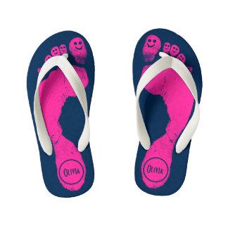 Bubblegum Pink Footprints Smiley-Toes™ Navy Blue Flip Flops