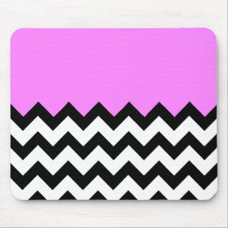 Bubblegum-Pink-On-Black-&-White-Zigzag-Pattern Mouse Pad