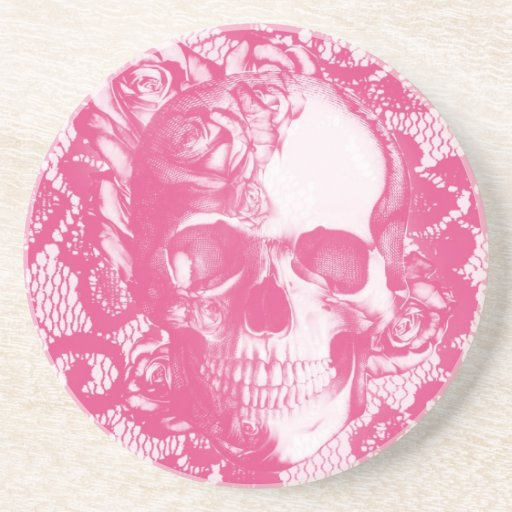 Bubblegum Pink rose skull on lace Beverage Coasters