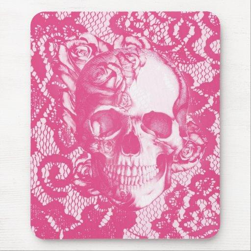 Bubblegum Pink rose skull on lace Mousepads