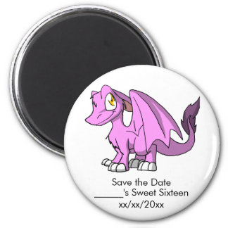 Bubblegum/Pink SD Furry Dragon Save the Date 6 Cm Round Magnet
