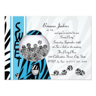 Bubblegum Stripes/ Blue 14 Cm X 19 Cm Invitation Card