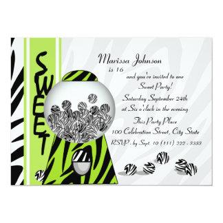 Bubblegum Stripes/ Kiwi 14 Cm X 19 Cm Invitation Card