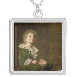 Bubbles, 1886 square pendant necklace