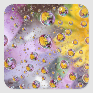 Bubbles abstract with flowers. Credit as: Nancy Square Sticker