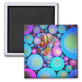 Bubbles and Balloon Square Magnet