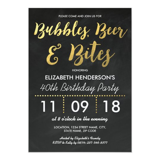 Bubbles, Beer & Bites Adult Birthday Party Card