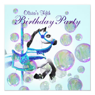 Bubbles Blue Carousel Pony Girls Birthday Party Personalized Announcements