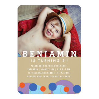Bubbles Blue Dots Kids Boy Photo Birthday Invite
