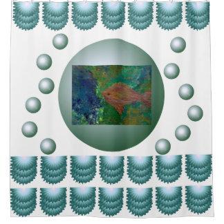 Bubbles Blue Fish Bathroom Decor Gifts Shower Curtain
