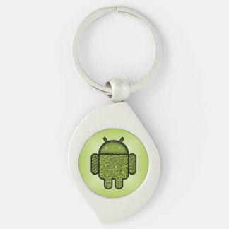Bubbles Doodle Character for the Android™ robot Silver-Colored Swirl Key Ring