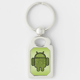 Bubbles Doodle Character for the Android™ robot Silver-Colored Rectangle Key Ring