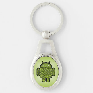 Bubbles Doodle Character for the Android™ robot Silver-Colored Oval Key Ring