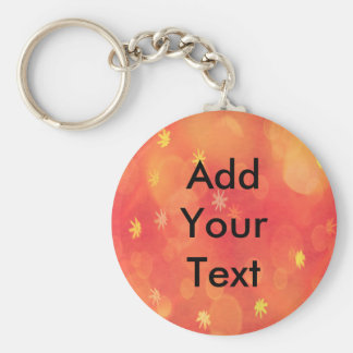 Bubbles & Flowers in Orange Basic Round Button Key Ring