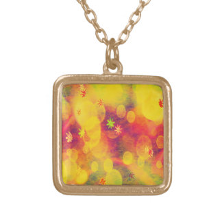 Bubbles & Flowers in Yellow Square Pendant Necklace