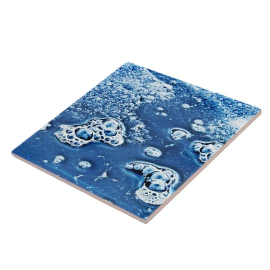 Bubbles Ice Water Blue Abstract Ceramic Tile