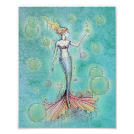 Bubbles Mermaid Print