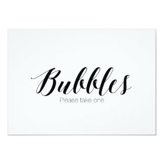 """Bubbles please take one"" Calligraphy Wedding Sign 13 Cm X 18 Cm Invitation Card"