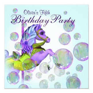 "Bubbles Purple Carousel Pony Girls Birthday Party 5.25"" Square Invitation Card"