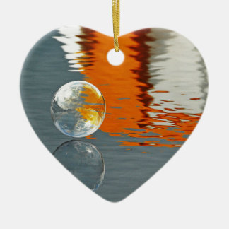 Bubbles Reflecting in Water Ceramic Heart Decoration