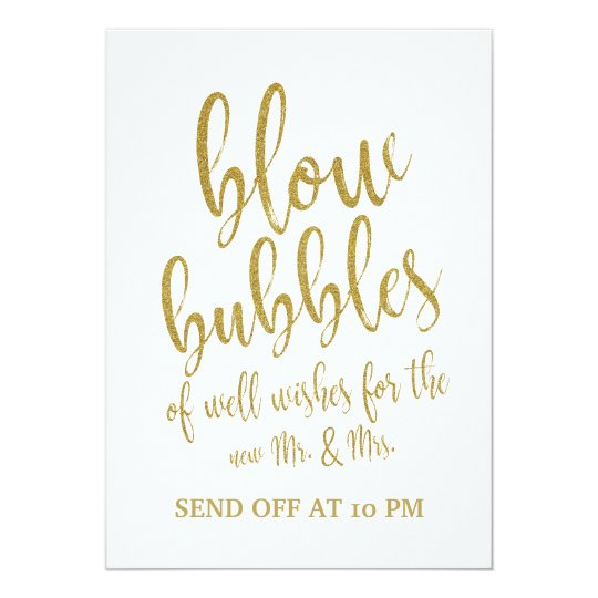 Bubbles Send Off Gold Affordable Wedding Sign Card